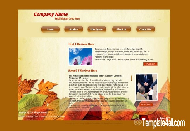 Autumn Leaves Flash Website Template