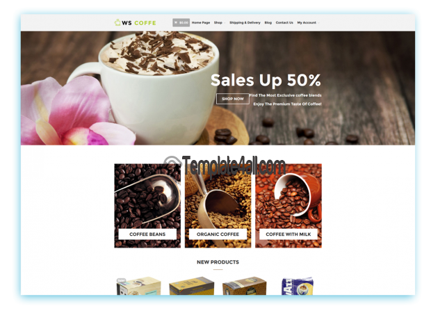 WS WooCommerce Free Cafe Coffee Shop Wordpress Theme