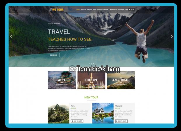 WS Tour Free Responsive Travel Booking Wordpress Theme