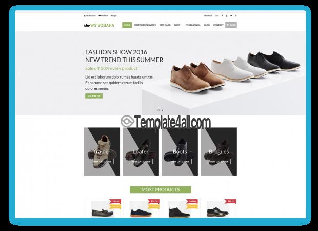 WooCommerce WS SOBAFA Free Responsive Shoes Wordpress Theme