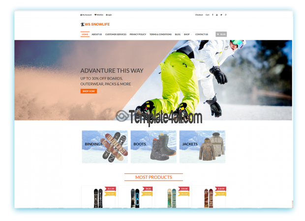 Free Responsive Snowboarding Clothings Wordpress Theme