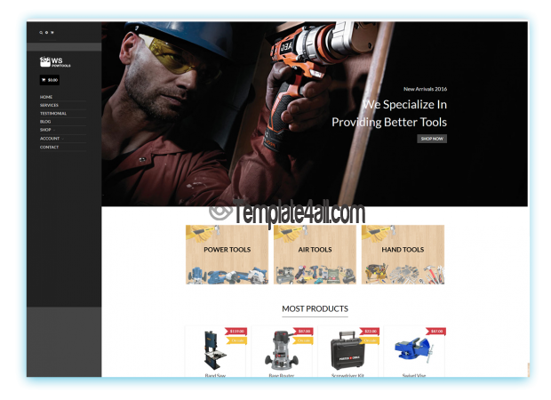 WS Free Responsive Tools Equipment Wordpress Theme