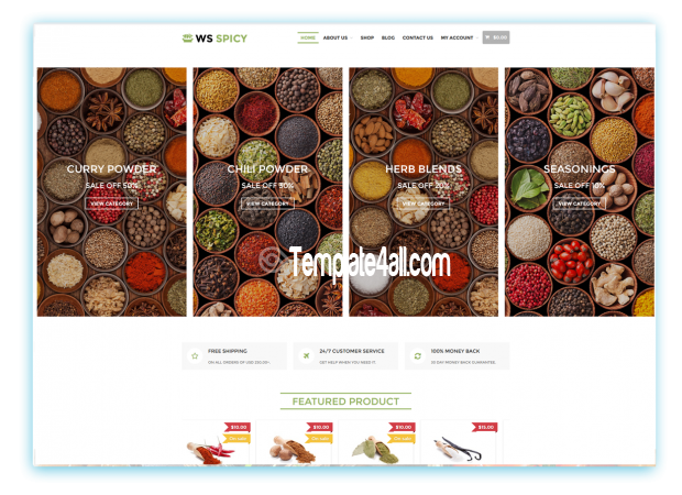 WS Free Responsive Spices Store Wordpress Theme