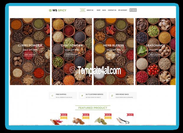 WS Free Responsive Spices Store Wordpress Theme