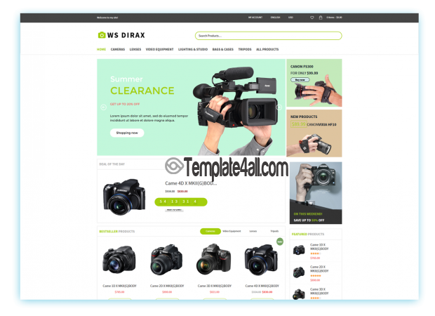 Ws Dirax Digital Cameras Store WordPress Theme